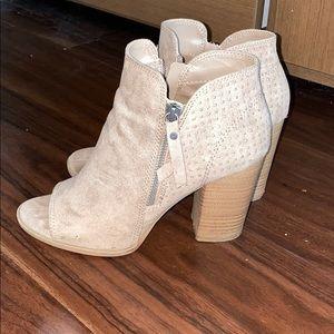 Gray booties with chunky heel!
